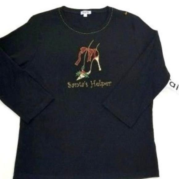f9502a897 faith Tops   Santas Helper Womens Holiday Shirt Size Xl Bling   Poshmark